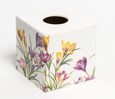 Crocus Flower Tissue Box Cover wooden handmade decoupaged