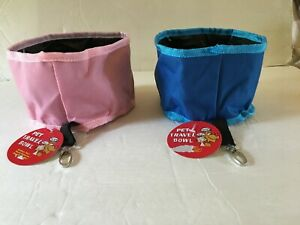 "TRAVEL Food/Water Foldable Nylon Bowl w/Belt Clip Dog ""or"" Cat 4"" High x 6"" Diam"