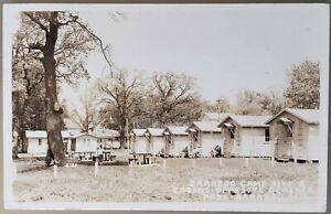 Baraboo RPPC, Camp Bungalows by Ochsmer Park 1936, Wisconsin WI
