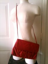 Vintage Pacific Connections Bright Red Leather Clutch Optional Strap Purse