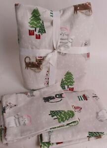 Pottery Barn Kids Flannel Holiday cats full flat sheet & 2 pillowcases *sample