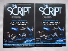 "THE SCRIPT Live ""No sound without silence"" 2015 UK Arena Tour. Promo flyers x 2"