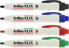 Artline EK-573A Clix Retractable Whiteboard Markers Dry Wipe Pens Pocket Clip