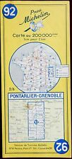 MICHELIN FRANCE 1958 COLOURED PAPER MAP of PONTARLIER-GRENOBLE No 90 1:200 000