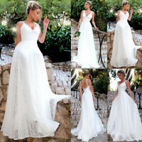 Women Lace Formal Wedding Bridesmaid Long Evening Party Ball Gown Cocktail Dress