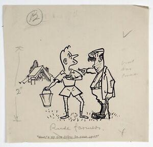 Alan Hervey d'Egville (1891-1951) Original cartoon. 'Rude farmers' cow in tent