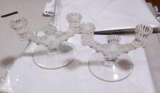 2 Paden City Depression Glass Largo Candlesticks Double c1937