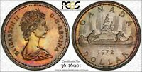 1972 CANADA SILVER DOLLAR PCGS SP65 MONSTER TONED MULTI COLOR GEM BU UNC (DR)