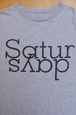 SATURDAYS SURF NYC Heather Grayw Black Type Graphic Cotton T Shirt Small