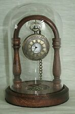 Mahogany Pocket Watch Stand Glass Display Dome Other Hardwoods Available