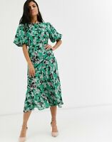 ASOS DESIGN Ruched Maxi Dress with Puff Sleeve in Floral Print SIZE UK 8 /EU 36