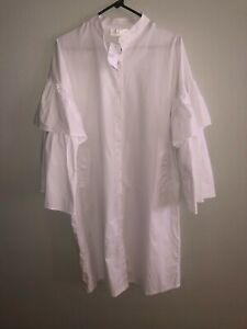 Women's C Yard white button up shirt dress with ruffle sleeves size large NWT