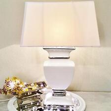 WHITE LADY Keramik Lampe 43cm Lampenfuß Lampenschirm Weiß Nachttischlampe Shabby
