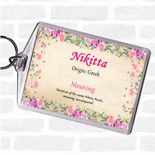Nikitta Nombre Etiqueta Llavero Keyring Floral significado Bolsa