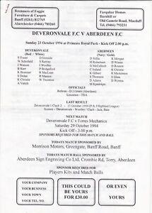 Deveronvale v Aberdeen 23 Oct 1994