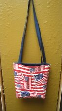 American Flags Tote Bag-Machine Quilted-Red-White-Blue-Hand Made-Navy Lining