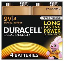 4 Pack Duracell PLUS POWER 9V 6LR61 MN1604 PP3 Alkaline Batteries Smoke Alarm