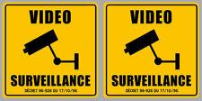 SET DE 2 VIDEO SURVEILLANCE PROPRIETE ALARME CAMERA SECURITE 9cm STICKER VA093