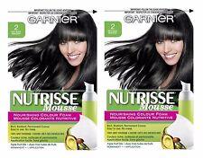 LOT OF 2 - GARNIER NUTRISSE NOURISHING COLOR FOAM #2-SOFT BLACK HAIR COLOR