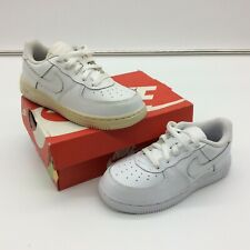 NIKE INFANTS AIR FORCE 1 LOW BASKETBALL WHITE LEATHER TRAINERS T CHILDRENS C