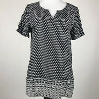J. Jill Women White and Black Rayon Geometric Print Short Sleeve Top sz S