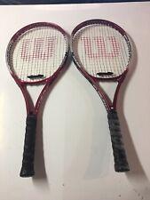 WILSON Titanium Fusion Double Beam Tennis Racket Racquet, RED Lot of 2 NICE
