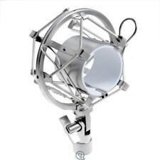 Kmise A6687 Microphone Silver Shock Mount Fits Any Mic Arm Mxl Ev 5/8X27 thread