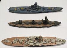 "3 X Lead Pewter Battleships = Vintage Group 6"" & 7"" Long Germany Dakota Class"