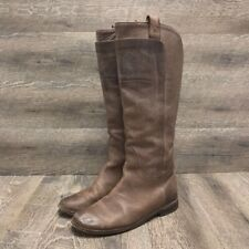 Frye Womens Riding Boots Brown Leather Knee High Pull On Distressed Flat Heel 9
