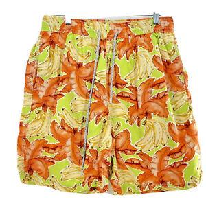 VILEBREQUIN Swim Trunks Summer Yellow Floral Banana Shorts Stretch Hawaiian XXL