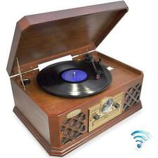 Pyle PTCD4BT BT Wireless Streaming Classic Retro Style Record Player Turntable