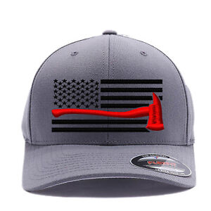 Thin Red Line Axe USA Flag   Firefighter Flag Embroidered 6277 Flexfit Cap