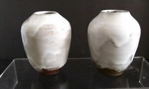 PAIR OLD JUGTOWN POTTERY HAN DYNASTY VASES - NICE CHINESE WHITE GLAZE - 3.5""