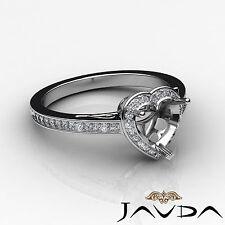 Diamond Engagement Filigree Ring Heart Semi Mount Halo Pave 14k White Gold 0.5Ct