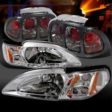 1994-1998 Ford Mustang Chrome Headlight Corner Lamps+Smoke Tail Lights