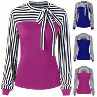 Casual  Women Tie-Bow Neck Striped Bow Patchwork Long Sleeve Top Shirt Blouse