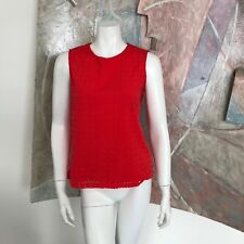 Cynthia Rowley Red Laser Cut Womens Blouse Top SZ XS Sleeveless