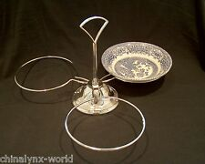 "3 Ring Nibbles/Dips/Pickles Bowl Holder Fits 5-6"" Bowls ( Doulton Silver Rimmed)"