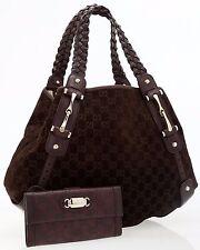 Gucci Brown Monogram Suede&Leather Hobo Bag&Monogram Leather Wallet,100% genuine