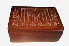 Vintage beautifully engraved TAJMAHAL Wooden Trinket Box Jewelry Box from India
