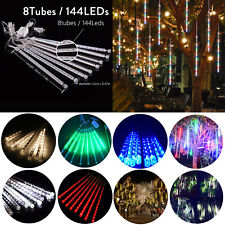144 LED Meteor Shower Light Waterproof 30CM Xmas Tree Decor Raindrop Chain Light