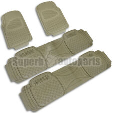 2 Front+2 Rear All Weather Custom Heavy Duty Rubber Floor Mats 4PC Beige Set
