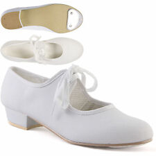 White Low Heel Canvas Tap Shoes with Toe Taps Girls Ladies by Dance Gear LHCW