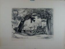 """Lithographie de Robert LOTIRON , """"Cour de ferme"""", XXe"""