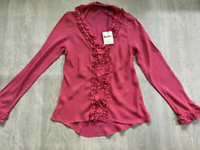 BODEN  pink 100% silkl ruffle  top size 14  NEW