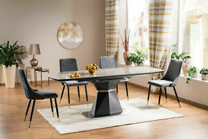 """CORTEZ"" Anthracite & Grey Ceramic Marble Extending Dining Table & Velvet Chairs"
