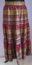 VTG Ladies Unbranded Red Pattered Tiered Cotton Short Skirt Size 10