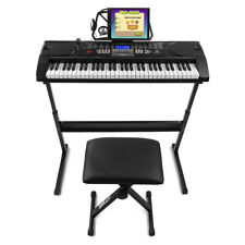 More details for kb1 full size electronic keyboard 61 key digital piano, stool, stand & stickers