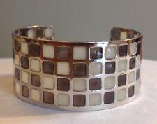 Wide Checker Board Cuff Bracelet Fashion Designer Bangle Mint Gift Box