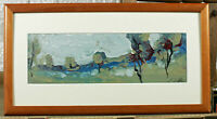 Unreadable Signed Oil Painting Older Expressive Landscape With Trees Abstract